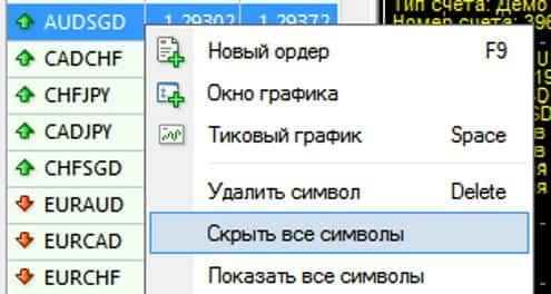 Скрыть все символы MetaTrader 4