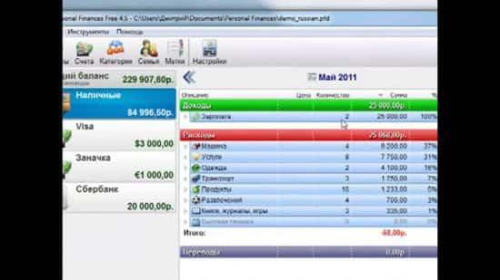 Программа учета доходов и расходов — Personal Finances
