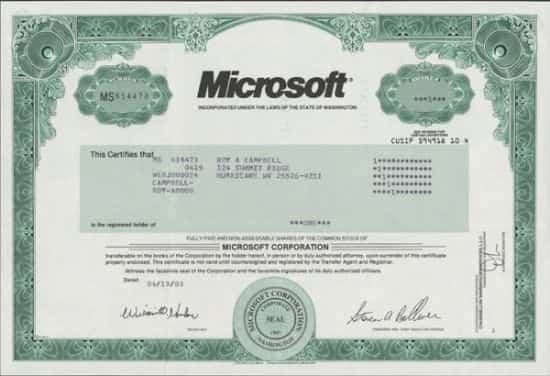 Акция американской компании Microsoft