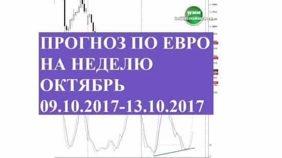 Прогноз по евро на неделю октябрь 09.10.2017-13.10.2017. На север?